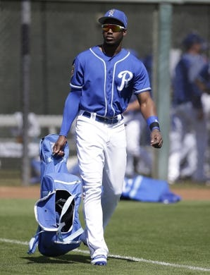 Mar 14, 2018; Surprise, AZ, USA; Kansas City Royals right fielder Jorge Soler (12) walks in to the stadium before a game against the Chicago Cubs at Surprise Stadium. Mandatory Credit: Rick Scuteri-USA TODAY Sports