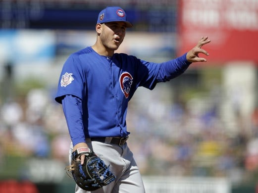 Mar 14, 2018; Surprise, AZ, USA; Chicago Cubs first baseman Anthony Rizzo (44) talks to the fans in between innings against the Kansas City Royals at Surprise Stadium. Mandatory Credit: Rick Scuteri-USA TODAY Sports