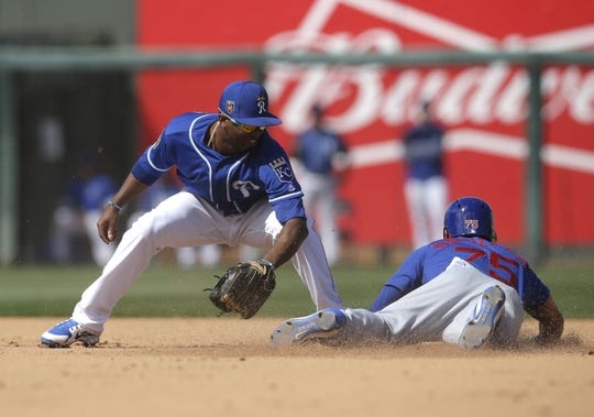Mar 14, 2018; Surprise, AZ, USA; Chicago Cubs center fielder Jacob Hannemann (75) steals second base in front of Kansas City Royals shortstop Alcides Escobar (2) in the fifth inning at Surprise Stadium. Mandatory Credit: Rick Scuteri-USA TODAY Sports
