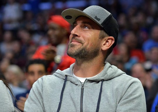 March 27, 2018; Los Angeles, CA, USA; Green Bay Packers quarterback Aaron Rodgers in attendance as the Los Angeles Clippers play against the Milwaukee Bucks during the first half at Staples Center. Mandatory Credit: Gary A. Vasquez-USA TODAY Sports