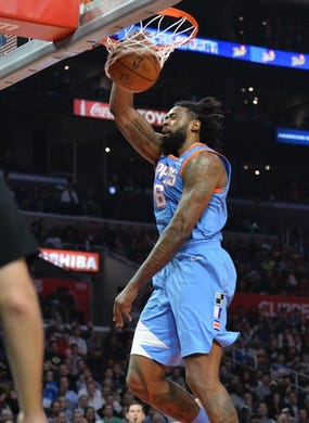 March 27, 2018; Los Angeles, CA, USA; Los Angeles Clippers center DeAndre Jordan (6) dunks to score a basket against the Milwaukee Bucks during the first half at Staples Center. Mandatory Credit: Gary A. Vasquez-USA TODAY Sports