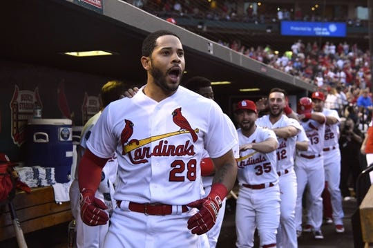 Apr 24, 2018; St. Louis, MO, USA; St. Louis Cardinals center fielder Tommy Pham (28) leads the conga line celebration after hitting a two run home run off of New York Mets starting pitcher Zack Wheeler (not pictured) during the first inning at Busch Stadium. Mandatory Credit: Jeff Curry-USA TODAY Sports