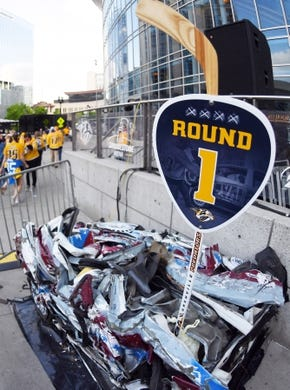Apr 27, 2018; Nashville, TN, USA; View of the round one smash car in the Bridgestone Arena plaza before game one of the second round of the 2018 Stanley Cup Playoffs between the Nashville Predators and Winnipeg Jets at Bridgestone Arena. Mandatory Credit: Christopher Hanewinckel-USA TODAY Sports