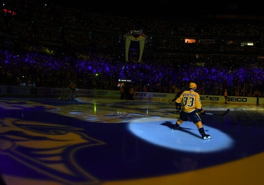 Apr 27, 2018; Nashville, TN, USA; Nashville Predators left wing Viktor Arvidsson (33) skates on the ice during player introductions prior to game one of the second round of the 2018 Stanley Cup Playoffs against the Winnipeg Jets at Bridgestone Arena. Mandatory Credit: Christopher Hanewinckel-USA TODAY Sports