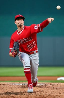 Apr 13, 2018; Kansas City, MO, USA; Los Angeles Angels starting pitcher Andrew Heaney (28) warms up in the first inning against the Kansas City Royals at Kauffman Stadium. Mandatory Credit: Jay Biggerstaff-USA TODAY Sports