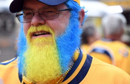 May 5, 2018; Nashville, TN, USA; Nashville Predators fan Neil Tyler before game five of the second round of the 2018 Stanley Cup Playoffs against the Winnipeg Jets at Bridgestone Arena. Mandatory Credit: Christopher Hanewinckel-USA TODAY Sports