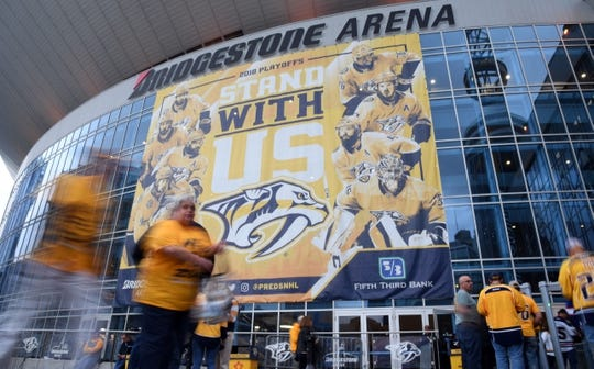 May 5, 2018; Nashville, TN, USA; Nashville Predators fans enter Bridgestone Arena before game five of the second round of the 2018 Stanley Cup Playoffs against the Winnipeg Jets. Mandatory Credit: Christopher Hanewinckel-USA TODAY Sports