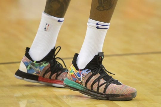 May 14, 2018; Houston, TX, USA; A detail photo of the shoes worn by Golden State Warriors forward Kevin Durant (35) before game one of the Western conference finals of the 2018 NBA Playoffs against the Houston Rockets at Toyota Center. Mandatory Credit: Erik Williams-USA TODAY Sports
