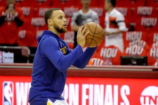 May 14, 2018; Houston, TX, USA; Golden State Warriors guard Stephen Curry (30) warms up prior to the game against the Houston Rockets in game one of the Western conference finals of the 2018 NBA Playoffs at Toyota Center. Mandatory Credit: Erik Williams-USA TODAY Sports