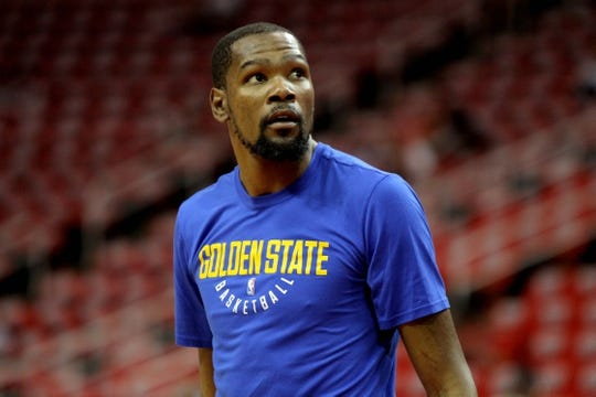 May 14, 2018; Houston, TX, USA; Golden State Warriors forward Kevin Durant (35) prior to the game against the Houston Rockets in game one of the Western conference finals of the 2018 NBA Playoffs at Toyota Center. Mandatory Credit: Erik Williams-USA TODAY Sports