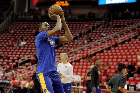 May 14, 2018; Houston, TX, USA; Golden State Warriors forward Kevin Durant (35) warms up prior to the game against the Houston Rockets in game one of the Western conference finals of the 2018 NBA Playoffs at Toyota Center. Mandatory Credit: Erik Williams-USA TODAY Sports