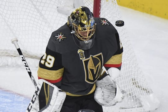 May 16, 2018; Las Vegas, NV, USA; Vegas Golden Knights goalie Marc-Andre Fleury (29) makes a save against the Winnipeg Jets during the second period in game three of the Western Conference Final of the 2018 Stanley Cup Playoffs at T-Mobile Arena. Mandatory Credit: Kirby Lee-USA TODAY Sports