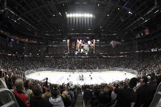 May 16, 2018; Las Vegas, NV, USA; A general view of the T-Mobile Arena during the second period in game three of the Western Conference Final of the 2018 Stanley Cup Playoffs. Mandatory Credit: Kirby Lee-USA TODAY Sports