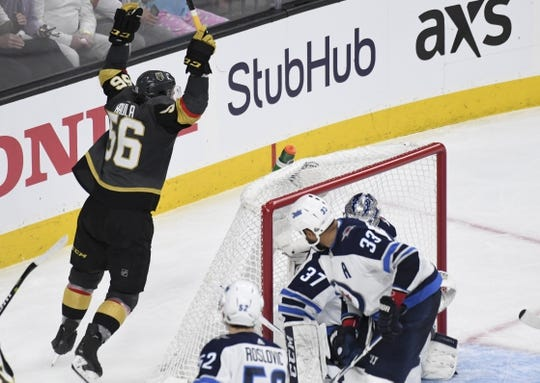 May 16, 2018; Las Vegas, NV, USA; Vegas Golden Knights left wing Erik Haula (56) celebrates after a goal by right wing Alex Tuch (not pictured) during the second period in game three of the Western Conference Final of the 2018 Stanley Cup Playoffs against the Winnipeg Jets at T-Mobile Arena. Mandatory Credit: Kirby Lee-USA TODAY Sports
