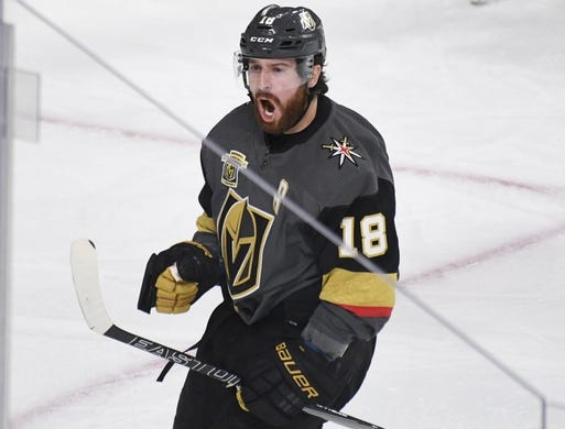 May 16, 2018; Las Vegas, NV, USA; Vegas Golden Knights left wing James Neal (18) reacts after scoring a goal during the second period in game three of the Western Conference Final of the 2018 Stanley Cup Playoffs against the Winnipeg Jets at T-Mobile Arena. Mandatory Credit: Kirby Lee-USA TODAY Sports
