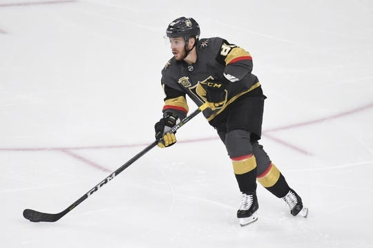 May 16, 2018; Las Vegas, NV, USA; Vegas Golden Knights center Jonathan Marchessault (81) moves the puck down the ice during the second period in game three of the Western Conference Final of the 2018 Stanley Cup Playoffs against the Winnipeg Jets at T-Mobile Arena. Mandatory Credit: Kirby Lee-USA TODAY Sports