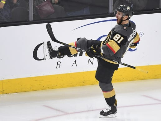 May 16, 2018; Las Vegas, NV, USA; Vegas Golden Knights center Jonathan Marchessault (81) reacts after scoring a goal during the first period in game three of the Western Conference Final of the 2018 Stanley Cup Playoffs against the Winnipeg Jets at T-Mobile Arena. Mandatory Credit: Stephen R. Sylvanie-USA TODAY Sports