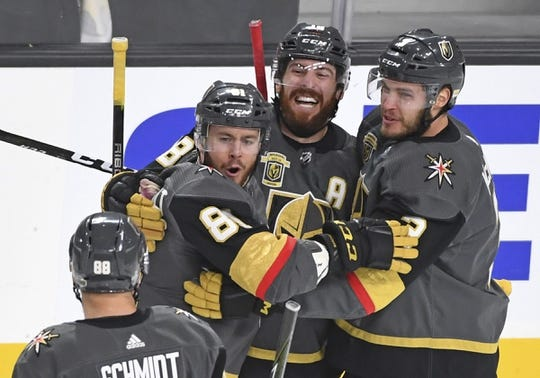 May 16, 2018; Las Vegas, NV, USA; Vegas Golden Knights center Jonathan Marchessault (81) celebrate with his team after scoring a goal during the first period in game three of the Western Conference Final of the 2018 Stanley Cup Playoffs against the Winnipeg Jets at T-Mobile Arena. Mandatory Credit: Stephen R. Sylvanie-USA TODAY Sports
