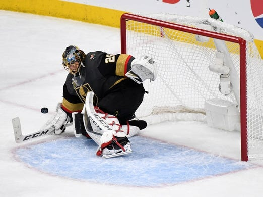May 16, 2018; Las Vegas, NV, USA; Vegas Golden Knights goaltender Marc-Andre Fleury (29)   makes a save against the Winnipeg Jets in the second period of game three of the Western Conference Final of the 2018 Stanley Cup Playoffs at T-Mobile Arena. Mandatory Credit: Kirby Lee-USA TODAY Sports