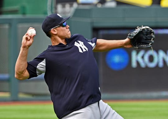 May 19, 2018; Kansas City, MO, USA; New York Yankees right fielder Aaron Judge (99) warms up during pre-game activities prior to a game against the Kansas City Royals at Kauffman Stadium. Mandatory Credit: Peter G. Aiken/USA TODAY Sports