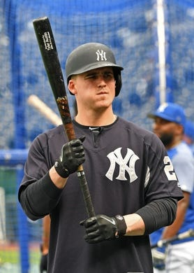 May 19, 2018; Kansas City, MO, USA; New York Yankees first baseman Tyler Austin (26) warms up during pre-game activities prior to a game against the Kansas City Royals at Kauffman Stadium. Mandatory Credit: Peter G. Aiken/USA TODAY Sports