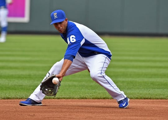 May 19, 2018; Kansas City, MO, USA; Kansas City Royals infielder Ramon Torres (46) warms up during pre-game activities prior to a game against the New York Yankees at Kauffman Stadium. Mandatory Credit: Peter G. Aiken/USA TODAY Sports