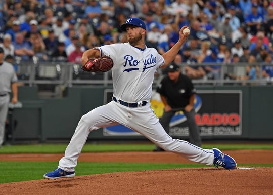 May 19, 2018; Kansas City, MO, USA; Kansas City Royals starting pitcher Danny Duffy (41) delivers a pitch during the first inning against the New York Yankees at Kauffman Stadium. Mandatory Credit: Peter G. Aiken/USA TODAY Sports