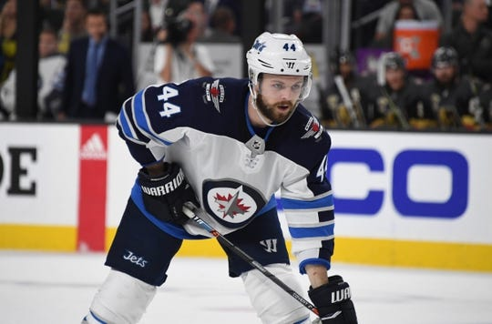 May 16, 2018; Las Vegas, NV, USA; Winnipeg Jets defenseman Josh Morrissey (44) reacts  in the first period of game three of the Western Conference Final of the 2018 Stanley Cup Playoffs against the Vegas Golden Knights  at T-Mobile Arena. Mandatory Credit: Kirby Lee-USA TODAY Sports
