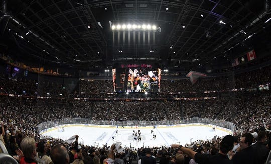 May 16, 2018; Las Vegas, NV, USA; General overall view of the T-Mobile Arena during game three of the Western Conference Final of the 2018 Stanley Cup Playoffs between the Winnipeg Jets and the Vegas Golden Knights. Mandatory Credit: Kirby Lee-USA TODAY Sports