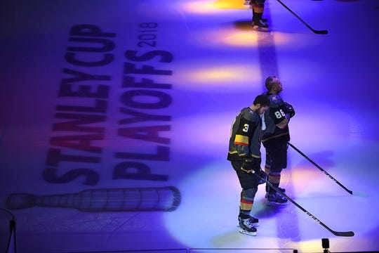 May 16, 2018; Las Vegas, NV, USA; Vegas Golden Knights defenseman Brayden McNabb (3) and defenseman Nate Schmidt (88) are pictured before the start of game three of the Western Conference Final of the 2018 Stanley Cup Playoffs against the Winnipeg Jets at T-Mobile Arena. Mandatory Credit: Stephen R. Sylvanie-USA TODAY Sports