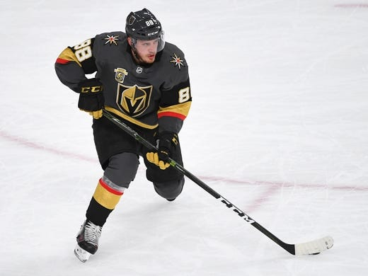May 16, 2018; Las Vegas, NV, USA; Vegas Golden Knights defenseman Nate Schmidt (88) skates against the Winnipeg Jets during the first period of game three of the Western Conference Final of the 2018 Stanley Cup Playoffs at T-Mobile Arena. Mandatory Credit: Stephen R. Sylvanie-USA TODAY Sports