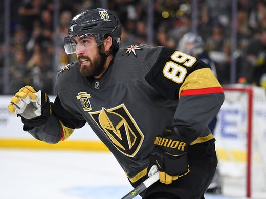 May 16, 2018; Las Vegas, NV, USA; Vegas Golden Knights right wing Alex Tuch (89) skates up ice against the Winnipeg Jets during the second period of game three of the Western Conference Final of the 2018 Stanley Cup Playoffs at T-Mobile Arena. Mandatory Credit: Stephen R. Sylvanie-USA TODAY Sports