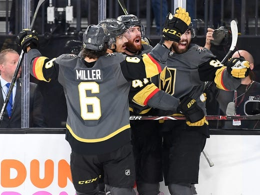 May 16, 2018; Las Vegas, NV, USA; Vegas Golden Knights players congratulate Vegas Golden Knights left wing James Neal (18) after he scored a second period goal against the Winnipeg Jets in game three of the Western Conference Final of the 2018 Stanley Cup Playoffs at T-Mobile Arena. Mandatory Credit: Stephen R. Sylvanie-USA TODAY Sports