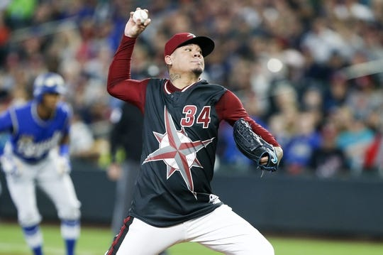 Jun 30, 2018; Seattle, WA, USA; Seattle Mariners starting pitcher Felix Hernandez (34) throws against the Kansas City Royals during the first inning at Safeco Field. Mandatory Credit: Joe Nicholson-USA TODAY Sports