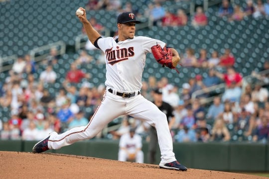 Jul 9, 2018; Minneapolis, MN, USA; Minnesota Twins starting pitcher Jose Berrios (17) delivers a pitch during the first inning against the Kansas City Royals at Target Field. Mandatory Credit: Jordan Johnson-USA TODAY Sports