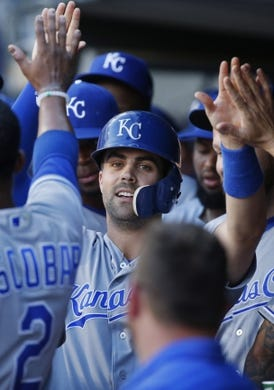 Jul 10, 2018; Minneapolis, MN, USA; Kansas City Royals second baseman Whit Merrifield (15) celebrates his run against the Minnesota Twins in the first inning at Target Field. Mandatory Credit: Bruce Kluckhohn-USA TODAY Sports