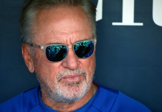 Aug 8, 2018; Kansas City, MO, USA;  Chicago Cubs manager Joe Maddon (70) talks with reporters before the game against the Kansas City Royals at Kauffman Stadium. Mandatory Credit: Jay Biggerstaff-USA TODAY Sports