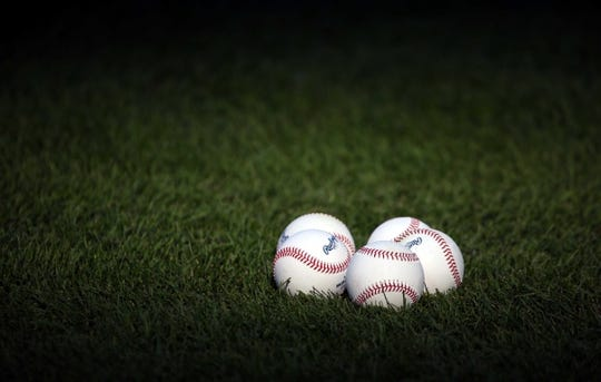 Aug 8, 2018; Kansas City, MO, USA;  A detailed view of baseballs on the field before the game between the Chicago Cubs and Kansas City Royals at Kauffman Stadium. Mandatory Credit: Jay Biggerstaff-USA TODAY Sports