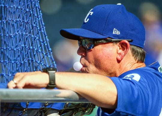 Aug 8, 2018; Kansas City, MO, USA;  Kansas City Royals manager Ned Yost (3) watches batting practice before the game against the Chicago Cubs at Kauffman Stadium. Mandatory Credit: Jay Biggerstaff-USA TODAY Sports