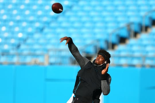Aug 17, 2018; Charlotte, NC, USA; Carolina Panthers quarterback Cam Newton (1) warms up prior to the game against the Miami Dolphins at Bank of America Stadium. Mandatory Credit: Jeremy Brevard-USA TODAY Sports