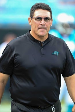 Aug 17, 2018; Charlotte, NC, USA; Carolina Panthers head coach Ron Rivera takes the field against the Miami Dolphins during the first quarter at Bank of America Stadium. Mandatory Credit: Jim Dedmon-USA TODAY Sports