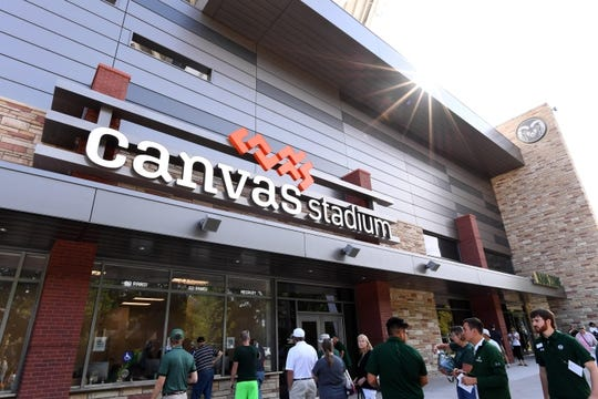 Aug 25, 2018; Fort Collins, CO, USA; General view outside of Canvas stadium before the game between the Hawaii Warriors against the Colorado State Rams. Mandatory Credit: Ron Chenoy-USA TODAY Sports