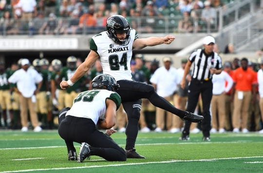 Aug 25, 2018; Fort Collins, CO, USA; Hawaii Warriors place kicker Ryan Meskell (94) kicks a field goal in the first quarter against the Colorado State Rams at Canvas Stadium. Mandatory Credit: Ron Chenoy-USA TODAY Sports
