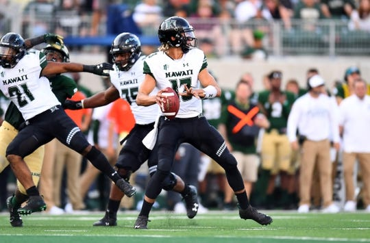 Aug 25, 2018; Fort Collins, CO, USA; Hawaii Warriors quarterback Cole McDonald (13) attempts a pass in the first quarter against the Colorado State Rams at Canvas Stadium. Mandatory Credit: Ron Chenoy-USA TODAY Sports