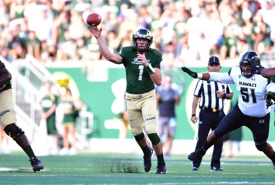 Aug 25, 2018; Fort Collins, CO, USA; Colorado State Rams quarterback K.J. Carta-Samuels (1) passes the ball in the first quarter against the Hawaii Warriors at Canvas Stadium. Mandatory Credit: Ron Chenoy-USA TODAY Sports