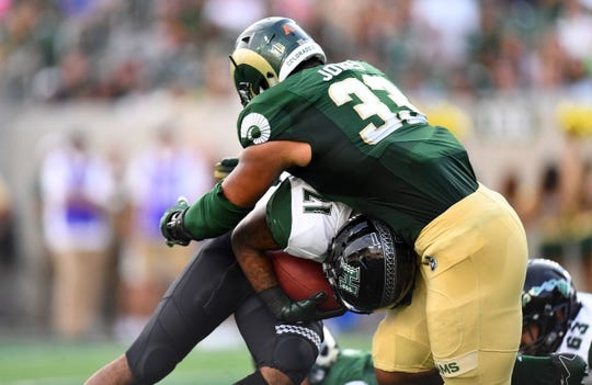 Aug 25, 2018; Fort Collins, CO, USA; Colorado State Rams defensive end Emmanuel Jones (33) tackles Hawaii Warriors running back Fred Holly III (21) at the goal line for a loss in the first quarter at Canvas Stadium. Mandatory Credit: Ron Chenoy-USA TODAY Sports