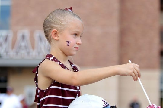 Aug 30, 2018; College Station, TX, USA; A young fan awaits the arrival of the Texas A&M Aggies prior to the game against the Northwestern State Demons at Kyle Field. Mandatory Credit: Erik Williams-USA TODAY Sports