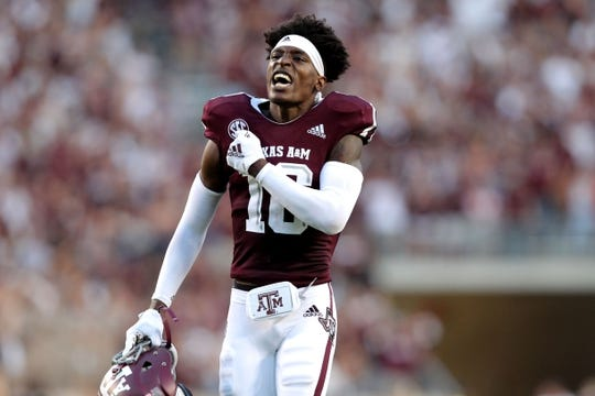Aug 30, 2018; College Station, TX, USA; Texas A&M Aggies wide receiver Klyde Chriss (16) during the team introductions prior to the game against the Northwestern State Demons at Kyle Field. Mandatory Credit: Erik Williams-USA TODAY Sports
