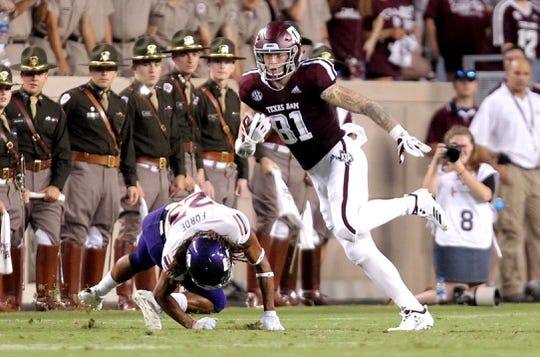 Aug 30, 2018; College Station, TX, USA; Texas A&M Aggies tight end Jace Sternberger (81) carries the ball upfield after a catch against the Northwestern State Demons during the first quarter at Kyle Field. Mandatory Credit: Erik Williams-USA TODAY Sports