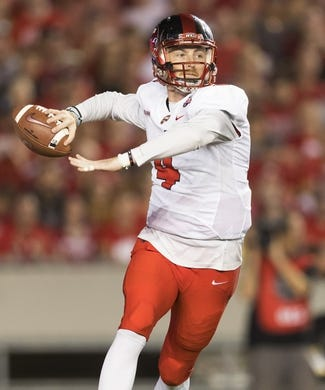 Aug 31, 2018; Madison, WI, USA; Western Kentucky Hilltoppers quarterback Drew Eckels (4) throws a pass during the first quarter against the Wisconsin Badgers at Camp Randall Stadium. Mandatory Credit: Jeff Hanisch-USA TODAY Sports